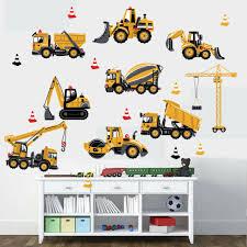 Cartoon Excavator Construction Wall Decals Baby Boy Nursery Kids Room Stickers For Sale Online