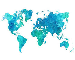 World Map Printable Watercolor Blue World Map Wall Art Blue Etsy In 2020 World Map Printable Water Color World Map Map Wall Art