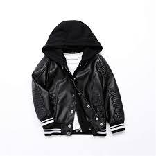 black leather hooded jacket men