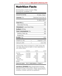 progenex reery nutrition label