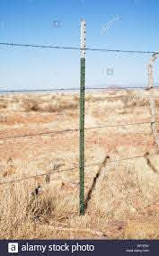 Barbed Wire Barb Wire On Metal T Post Fence Stock Photo Alamy