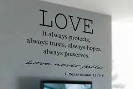 1 Corinthians 13 7 8 Love Never Fails Vinyl Wall Decal Quote Scripture Words Ebay