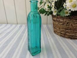 turquoise glass bottle or bud vase