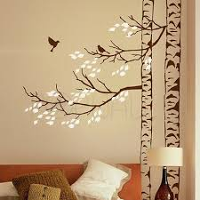 Trees With Leaves And Birds Tree Wall Decal Sticker Realistic Corner Tree Design Ebay