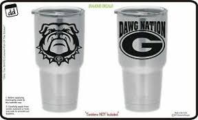 Georgia Bulldogs Dawg Nation Set Of 2 Vinyl Decal For Yeti Tumbler Cup Ozark Ebay
