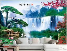 3d خلفيات صورة مخصصة ترحيب أغنية شلال فنغ شوي المشهد زخرفة اللوحة