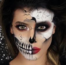 makeup costume skull half