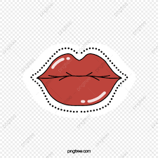 hand drawn kissing lips red love heart