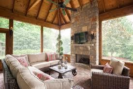 screen porch outdoor fireplace