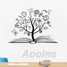 Book Tree Vinyl Wall Art Sticker Decals Library School Decor Reading Room Unique Wall Art Decal Mural Home Kids Room Decoration Wall Stickers Aliexpress
