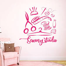 Sewing Studio Wall Sticker Atelier Home Decor Vinyl Wall Decals Handmade Tailor Window Decoration Removable Stickers Muraux Removable Stickers For Wall Decoration Removable Stickers For Walls From Joystickers 12 66 Dhgate Com