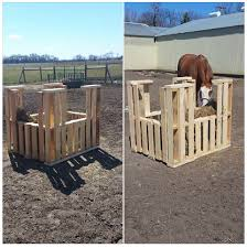 Pallet Turned Into Hay Holder Horse Shelter Hay Feeder For Horses Horse Barns