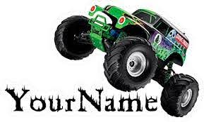 Stickers Your Name Grave Digger Custom Name Wall Decal Monster Truck Vinyl Sticker Home Decor Art Monster Truck Jam Mural Kids 18 24 Or 36 Handmade Home Decor