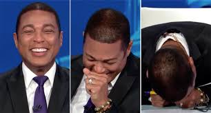 CNN's Don Lemon collapses on his desk in laughter as guests Rick ...