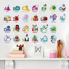 Amazon Com 3d Cartoon Animal Zoo Kids Room Wall Stickers Bedroom Living Room Learning English Alphabet Stickers Wallpaper Poster Cjzyy Kitchen Dining