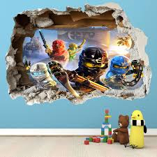 Lego Ninjago Smashed Wall Sticker 3d Bedroom Boys Girls Vinyl Wall Art Decal Wall Stickers Bedroom Lego Bedroom Lego Room Decor