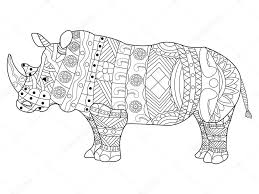 Rhinoceros Coloring Book Vector For Adults Stock Vector