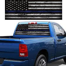 Buy Tooarts Car Sticker Blue Thin Line American Flag Rear Window Graphic Decal For Car Truck Suv 168 74cm Features Price Reviews Online In India Justdial