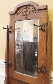 antique hall stand tree coat rack oak
