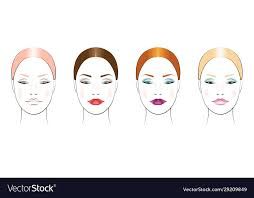 makeup options on a round face vector image