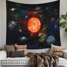 Amazon Com Lomohoo Tapestry Wall Hanging Solar System Galaxy Planet Outer Space Sun Earth Universe Tapestries For Kids Gift Bedroom Living Room Dorm Wall Blanket L 58x79 Inch Everything Else