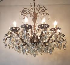 12 arm aged brass crystal chandelier