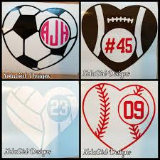 Football Decal Baseball Decal Soccer Decal Volleyball Decal Sports Ball Heart Decals Laptop Decal Heart Monogram Decals High School