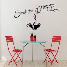 Shop Coffee Wall Decals Wall Quotes Smell The Coffee Wall Words Cafe Kitchen Home Vinyl Decor Sticker Decal Size 22x30 Color Black Overstock 14318983