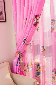 Disney Mickey And Minnie Pink Tulle Window Curtain For Kids Girls Room