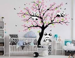 Luckkyy Three Playful Pandas Bear On Cherry Blossom Tree Wall Decal Tree Wall Sticker Nursery And Children S Room Pink Panda Things