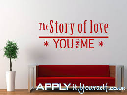 Wall Decals Large Red Quote Livingroom The Story Of Love You And Me Applyityourself