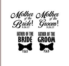 Wedding Party Vinyl Decal Mother Father Of The Bride Mother Etsy