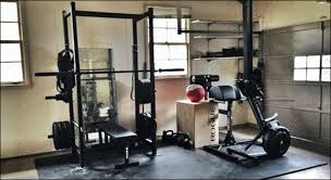 equipment items for a crossfit garage gym
