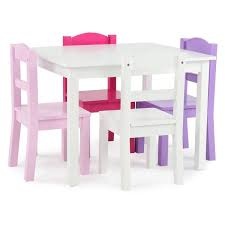 Humble Crew Friends 5 Piece White Pink Purple Kids Table And Chair Set Tc727 The Home Depot