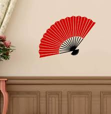 Amazon Com Vinyl Wall Decal Chinese Oriental Hand Fan Design Asian Cultural Decor Red Black Gold Brown Silver Other Colors Small And Large Sizes Handmade