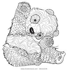 Handgetekende Kleurplaten Met Panda Illustratie Voor Stockvector