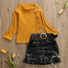 Bộ áo dệt kim + chân váy da PU 2 món thời trang cho bé gái 2019 size thích  hợp từ 2-6 tuổi