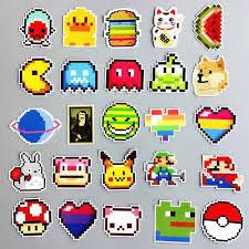 25pcs Pixel Pokemon Super Mario Pokeball Pikachu Vinyl Laptop Stickers