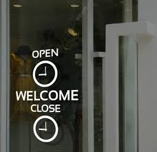 Business Hours Glass Window Stickers Custom Letter Number Shop Open Time Sticker Fashion Window Glass Door Time Poster Stickers Wall Stickers Aliexpress