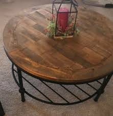 reclaimed wood top and iron shelf
