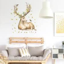 Excellent Vinyl Decal Sika Deer Flowers Birds Removable Home Decor Wall Stickers Art Mural Walmart Com Walmart Com