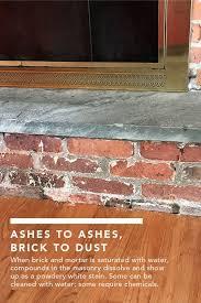 white dust on brick fireplace fine