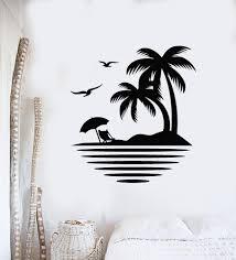 Vinyl Wall Decal Palm Tree Seagulls Beach Relax Travel Sea Ocean Stick Wallstickers4you