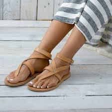 leather sandals solid color women shoes