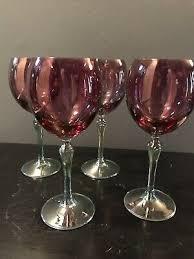 cobalt blue clear stem wine glass