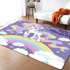 Rainbow Cartoon Area Rug Kids Game Play Flannel Carpets Unicorn Girls Room Floor Baby Crawling Rugs Mat Carpet For Living Room Carpet Aliexpress