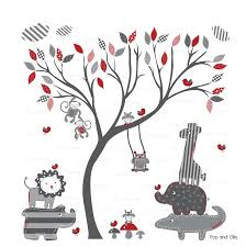Grey And Red Modern Baby Pattern Leaf Tree And Jungle Animals Die Cut Wall Decals Buy Online Pop Ollie