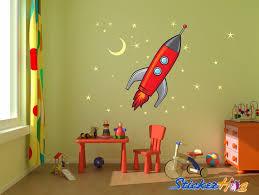 Rocket Ship Stars And Moon Vinyl Wall Decal