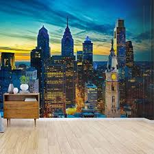 Amazon Com Kanworse Philadelphia Skyline With William Penn And City Hall Canvas Print Wallpaper Wall Mural Self Adhesive Peel Stick Wallpaper Home Craft Wall Decal Wall Poster Sticker For Living Room Home