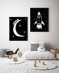 Custom Moon Name Print In Black And White For Toddler Room Etsy In 2020 Toddler Room Decor Space Themed Nursery Art Wall Kids